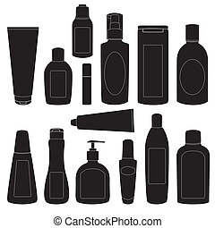 Set of cosmetic bottles silhouettes