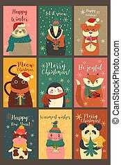 Set of cute cards with animals in a Christmas mood. Vector graphics.