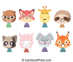Set of cute funny little animals.
