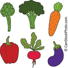 Set of cute hand drawn vector vegetables