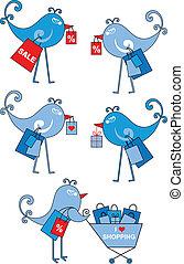 shopping birds, vector