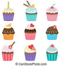 Set of cute vector cupcakes