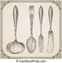 Set of Cutlery, doodle style
