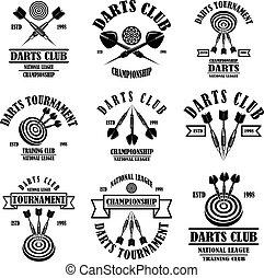 Set of darts club label templates. Design element for logo, label, sign, poster, t shirt. Vector illustration