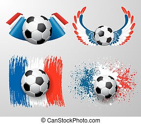 Set of designs to Euro 2016 France football championship with ball and france flag colors. Football ball and france flag. Football ball with wings in france flag colors. Vector.