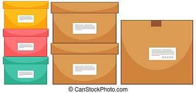 Set of different box sizes on white background