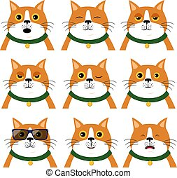 Set of different emotions cat. Portrait of animal in flat style, vector