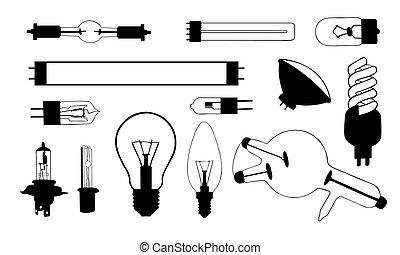 set of different light bulbs