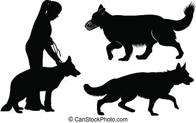 set of dog silhouettes German Shepherd Dogs