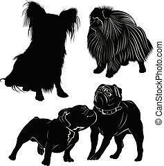 set of dog silhouettes isolated on white background