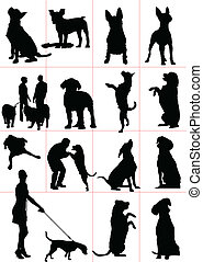 Set of dogs silhouette. Vector ill