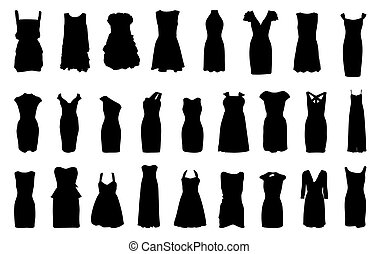 Set of dresses silhouette isolated on white background. EPS 10.