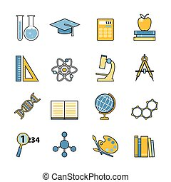 Set of education and learning line icons. Flat style design. School and college items, educational equipment for infographics and logo design.