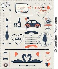 Set of elements for wedding design.