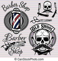 set of vector emblems on a theme barber shop