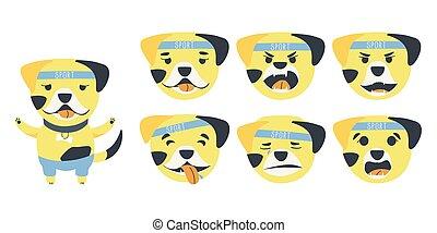 Set of emotions of a cute Bulldog dog