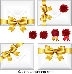 Set Of Envelopes With Golden Bow And Wax Seals, Isolated On White Background, Vector Illustration