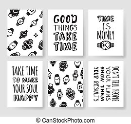 Set of fashion cards. Hand drawn vector patterns hipster brochures. Modern artistic design with watches