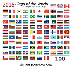 Collection of World flags on white background. Each flag is isolated on its own layer with the proper name. High quality vector concept.