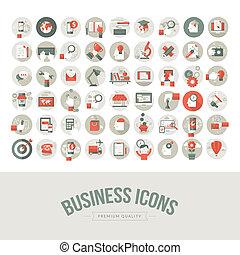 Set of flat design business icons. Icons for business, marketing, education, technology, seo, media, communication, finance, online shopping, e-commerce, creative idea, web and app development, design, social media.
