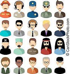 Twenty vector icons of men of a different nationality, with different hairdresses and in different clothes