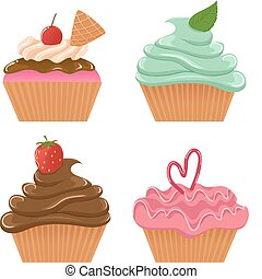 Set of four vector cupcakes
