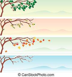 set of four vector seasonal banner