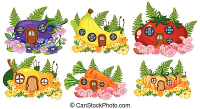 Set of fruit and vegetable fairy house