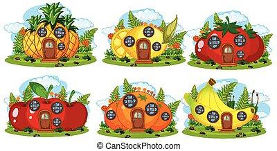 Set of fruit fairy house