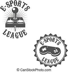 Set of gamer labels. E-sport league. Label or badge design template. Vector illustration.