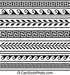 Set of geometric greek borders, isolate design elements. Full scalable vector graphic included Eps v8 and 300 dpi JPG.