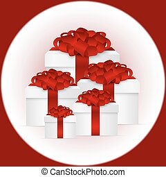 Set of gifts in a box with red bow