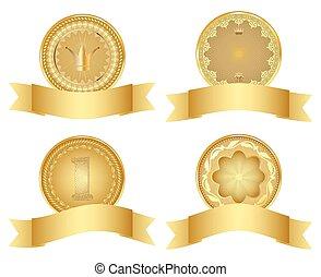 Set of golden design elements.