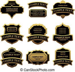 Set of golden labels and frames for design food and beverages