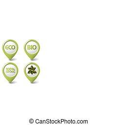 Set of green organic, natural, eco, bio food tags