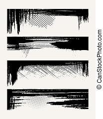 Set of grunge edges. Vector illustration in black color.