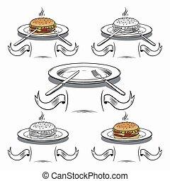 set of hamburger, plates and cutlery
