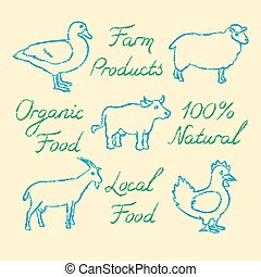 Set of hand drawn farm animals icons and lettering