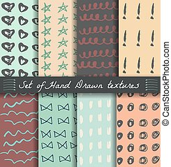 Set of hand drawn patterns
