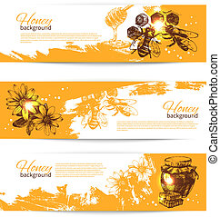 Set of honey banners with hand drawn sketch illustrations