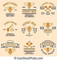 Set of honey emblems. Design element for logo, label, sign, poster, t shirt.