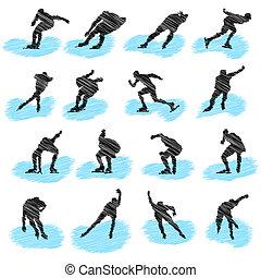 Set of ice-skating athlete grunge silhouettes