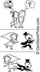 set of isolated couple cartoon, runaway groom, ideal for funny wedding invitation, vector format very easy to edit, individual objects