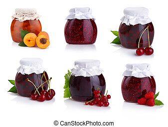 Set of jars with berry jam isolated on white background