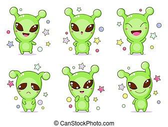 Set of kawaii aliens