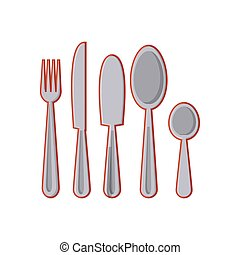 set of kitchen cutleries isolated icon
