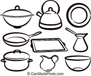 set of kitchen utensil
