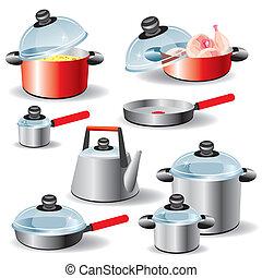 set of kitchen utensils for hot food processing