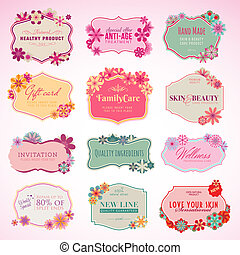 Set of vector cosmetics labels and stickers