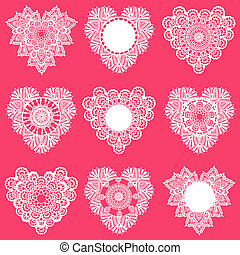 Set of Lace Hearts - for design and scrapbook - in vector